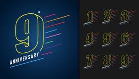 Σύνολο επετείου logotype Ζωηρόχρωμο ολοκληρωμένο κύκλωμα εορτασμού επετείου ελεύθερη απεικόνιση δικαιώματος