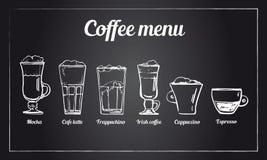 Σύνολο επιλογών καφέ Συρμένο χέρι διανυσματικό σκίτσο των διαφορετικών τύπων ποτών καφέ στο υπόβαθρο πινάκων διανυσματική απεικόνιση