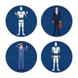 Σύνολο επιχειρηματία ρομπότ ANS humanoid ελεύθερη απεικόνιση δικαιώματος