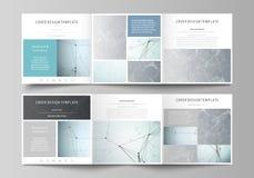 Σύνολο επιχειρησιακών προτύπων για τα τετραγωνικά φυλλάδια σχεδίου trifold Κάλυψη φυλλάδιων, αφηρημένο διανυσματικό σχεδιάγραμμα  ελεύθερη απεικόνιση δικαιώματος