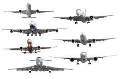 Σύνολο επτά αεροσκαφών που απομονώνεται από το υπόβαθρο Στοκ εικόνα με δικαίωμα ελεύθερης χρήσης