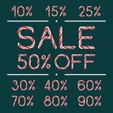 Σύνολο ετικετών πώλησης στο ύφος καλάμων καραμελών Στοκ Εικόνες
