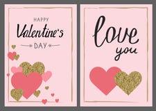 Σύνολο ευχετήριων καρτών ημέρας βαλεντίνου Χρυσά και ρόδινα χρώματα Αγάπη yo διανυσματική απεικόνιση