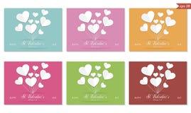 Σύνολο ευχετήριων καρτών ημέρας βαλεντίνων, καρδιές εγγράφου, διάνυσμα Στοκ Εικόνες