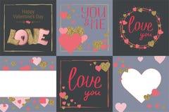 Σύνολο ευχετήριων καρτών ημέρας του ευτυχούς βαλεντίνου Αγάπη Χρυσά και ρόδινα χρώματα αφίσα συρμένη καρδιά χεριών Σχέδιο για το  απεικόνιση αποθεμάτων