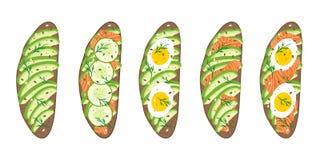 Σύνολο εύγευστων σάντουιτς με το αβοκάντο, σολομός, αγγούρι, αυγά στο σκοτεινό χωριάτικο ψωμί Υγιή εύγευστα σάντουιτς Διάνυσμα il στοκ εικόνα με δικαίωμα ελεύθερης χρήσης