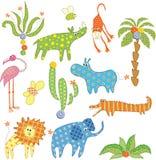 σύνολο ζουγκλών ζώων Απεικόνιση αποθεμάτων