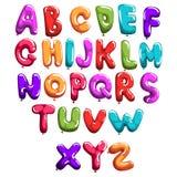 Σύνολο ζωηρόχρωμης πηγής στα μπαλόνια μορφής Αγγλικό αλφάβητο παιδιών ` s Επιστολές από το Α στο Ω Έννοια ABC Επίπεδο διανυσματικ Στοκ Φωτογραφίες