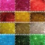 Σύνολο ζωηρόχρωμου αφηρημένου γεωμετρικού υποβάθρου τέσσερα με τα τριγωνικά πολύγωνα Ζωηρόχρωμο μωσαϊκό του τριγώνου 10 eps απεικόνιση αποθεμάτων