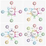 Σύνολο ζωηρόχρωμου προτύπου infographics με τα βήματα, επιλογές στοκ εικόνες