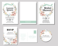Σύνολο ζωηρόχρωμου στεφανιού λουλουδιών με την κάρτα γαμήλιας πρόσκλησης κορδελλών μεντών Συλλογή άνοιξη στοκ φωτογραφία