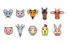 Σύνολο ζωηρόχρωμων εικονιδίων με τα κατοικίδια ζώα Διανυσματική απεικόνιση