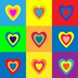 Σύνολο ζωηρόχρωμων καρδιών στο υπόβαθρο χρώματος επίσης corel σύρετε το διάνυσμα απεικόνισης απεικόνιση αποθεμάτων