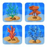 Σύνολο ζωηρόχρωμων κοραλλιών και αλγών σε ένα μπλε υπόβαθρο Φυσική υποβρύχια διανυσματική απεικόνιση Ύφος κινούμενων σχεδίων, που ελεύθερη απεικόνιση δικαιώματος