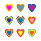 Σύνολο ζωηρόχρωμων ομαλών συνδυασμένων καρδιών διανυσματικό λευκό καρ&chi διανυσματική απεικόνιση