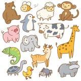 Σύνολο ζώων κινούμενων σχεδίων ελεύθερη απεικόνιση δικαιώματος