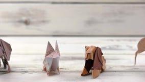 Σύνολο ζώων origami στο ξύλινο υπόβαθρο απόθεμα βίντεο