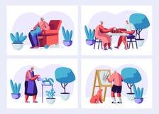 Σύνολο ηλικιωμένων χαρακτήρων που έχουν τη διασκέδαση χόμπι και ελεύθερου χρόνου Αρσενικοί και θηλυκοί ανώτεροι άνθρωποι που ξοδε διανυσματική απεικόνιση