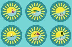 Σύνολο--ηλιόλουστος-καλοκαίρι-εικονίδιο-με-θάλασσα-και-παραλία διανυσματική απεικόνιση