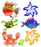 σύνολο θάλασσας χαρακτηρών κινουμένων σχεδίων Στοκ Εικόνες