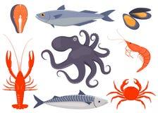 Σύνολο θαλασσινών Σολομός, μύδια, καβούρι, αστακός, χταπόδι, γαρίδες, σκουμπρί στο επίπεδο ύφος Ψάρια, εικονίδια θαλασσινών για τ διανυσματική απεικόνιση