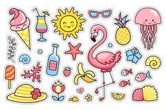 Σύνολο θερινών αυτοκόλλητων ετικεττών κινούμενων σχεδίων, μπαλώματα, διακριτικά, καρφίτσες, τυπωμένες ύλες για τα παιδιά Ύφος Doo απεικόνιση αποθεμάτων