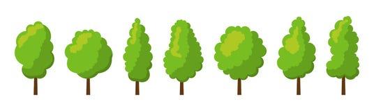 Σύνολο θερινών δέντρων κινούμενων σχεδίων Στοκ Φωτογραφία
