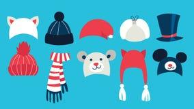 Σύνολο θερμού χαριτωμένου χειμερινού καπέλου για την κρύα εποχή απεικόνιση αποθεμάτων