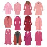 Σύνολο θηλυκού παλτού χειμερινών προτύπων φθινοπώρου επίσης corel σύρετε το διάνυσμα απεικόνισης απεικόνιση αποθεμάτων