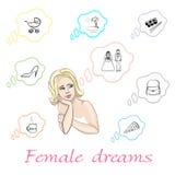 Σύνολο θηλυκών ονείρων μέσα απεικόνιση αποθεμάτων