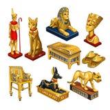 Σύνολο ιδιοτήτων και κοσμήματος στο θέμα της αρχαίας Αιγύπτου που απομονώνεται στο άσπρο υπόβαθρο Χρυσό ειδώλιο στη μορφή Στοκ Φωτογραφίες