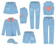 Σύνολο ιματισμού γυναικών τζιν παντελόνι Αστικό περιστασιακό ύφος σχεδίου μόδας ελεύθερη απεικόνιση δικαιώματος