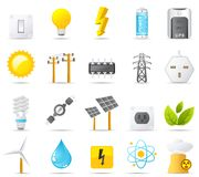 σύνολο ισχύος ενεργειακών εικονιδίων ηλεκτρικής ενέργειας nouve Στοκ Εικόνες