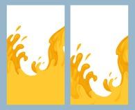 Σύνολο κάθετων εμβλημάτων με την επίπεδη απεικόνιση της έκχυσης του χυμού Ροή νέκταρ Ρεύματα και πτώσεις του juicy νερού r απεικόνιση αποθεμάτων
