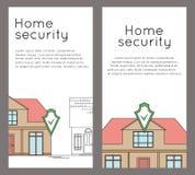 Σύνολο κάθετων εμβλημάτων με το σχέδιο περιλήψεων του σπιτιού με την ασπίδα ασφάλειας Έξυπνο σπίτι με το συναγερμό στο υπόβαθρο τ απεικόνιση αποθεμάτων