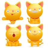 Σύνολο κίτρινων χαρακτήρων γατών emoji στις διάφορες καταστάσεις Στοκ εικόνα με δικαίωμα ελεύθερης χρήσης