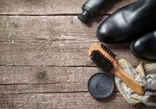 Σύνολο καθαρισμού για τις μπότες και τα παπούτσια Στοκ φωτογραφία με δικαίωμα ελεύθερης χρήσης
