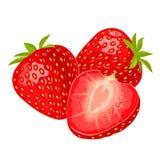 Σύνολο και φράουλα φετών Διανυσματική επίπεδη απεικόνιση χρώματος Στοκ Εικόνα