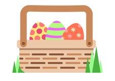 Σύνολο καλαθιών Πάσχας των χρωματισμένων αυγών διανυσματική απεικόνιση