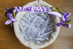 Σύνολο καλαθιών των σωλήνων φυσαλίδων για για το γάμο στοκ εικόνα