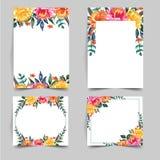 Σύνολο καλού λουλουδιού watercolor για τη γαμήλια πρόσκληση ελεύθερη απεικόνιση δικαιώματος