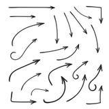 Σύνολο καμμμένου διάνυσμα χεριού βελών που σύρεται Ύφος σκίτσων doodle Συλλογή των δεικτών απεικόνιση αποθεμάτων