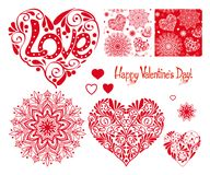 Σύνολο καρδιάς αγάπης με το σχέδιο, τα mandalas και τα άνευ ραφής σχέδια φ Στοκ Φωτογραφία