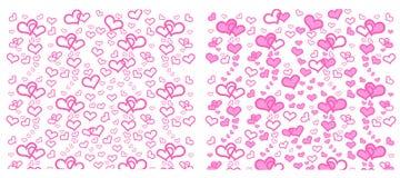 Σύνολο καρδιάς με το ροζ, πράσινος, κίτρινος στο ρόδινο και μαύρο υπόβαθρο ελεύθερη απεικόνιση δικαιώματος