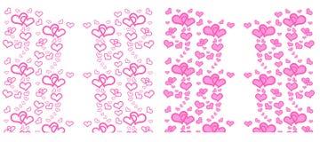 Σύνολο καρδιάς με το ροζ στο άσπρο υπόβαθρο διανυσματική απεικόνιση