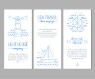 Σύνολο καρτών με τα ναυτικά στοιχεία στο λεπτό ύφος γραμμών ελεύθερη απεικόνιση δικαιώματος