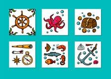 Σύνολο καρτών περιπετειών θάλασσας Θαλάσσια συρμένα χέρι διανυσματικά αντικείμενα Διανυσματική απεικόνιση ύφους Doodle ελεύθερη απεικόνιση δικαιώματος