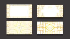 Σύνολο καρτών πολυτέλειας με ένα χρυσό σχέδιο στο ύφος deco τέχνης σε ένα άσπρο υπόβαθρο Double-sided επαγγελματικές κάρτες Αντικ απεικόνιση αποθεμάτων