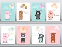 Σύνολο καρτών προσκλήσεων ντους μωρών, αφίσα, χαιρετισμός, πρότυπο, ζώα, άγριοι κάπροι, χοίρος, γουρούνια, διανυσματικές απεικονί Στοκ Φωτογραφία