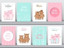 Σύνολο καρτών προσκλήσεων ντους μωρών, αφίσα, χαιρετισμός, πρότυπο, ζώα, άγριοι κάπροι, χοίρος, γουρούνια, διανυσματικές απεικονί Στοκ Εικόνες